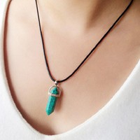 BeadyBoutique Stonehenge Necklace - Black Leather - Turquoise