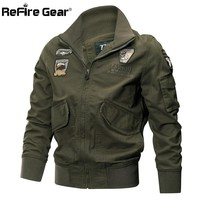 ReFire Gear Men Military Jackets Autumn Winter Cotton Army Jackets Male Casual Outerwear Clothes Tactical Air Force Pilot Coat