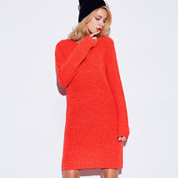 Red Knit Long Sleeve Midi Dress