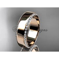 14k rose gold classic wedding band, engagement ring ADLR380G