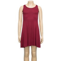 Full Tilt Hi Neck Swing Tank Dress Burgundy  In Sizes