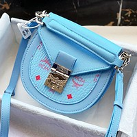 MCM Postman Saddle Bag 20ss New Visetos Pattern Mini Bag Press Lock Blue