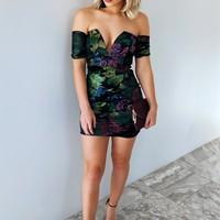 Picked For You Dress: Black/Multi