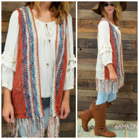 Bohemian Goddess Rust Knit Open Front Vest - One