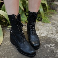 Black Leather Victorian Ankle Boots