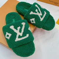 LV Louis vuitton new plush embroidery letters ladies beach slippers sandals Shoes