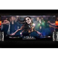 EMBRACE THE MUSIC DJ poster 24X36 SEXY girl long hair SPINNING discs CLUB