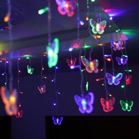 48 LEDs LED Butterfly led string 315CM*50CM AC220V Waterproof Curtain holiday Lights Christmas new year Garland Wedding Decor KM