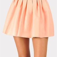Bad To The Bone Leather Skirt - Peach