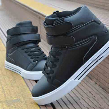 Fashion Sneaker Shoe Flat Lace Up Sport Shoes PU Leather High Top Sneakers Casual Shoes