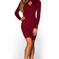 Allison Burgundy Red Bodycon Cut Out Long Sleeve Turtleneck Sweater Dress