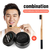 Oral Hygiene 1 PC Activated Charcoal Teeth Whitening Powder And Charcoal Soft Bristle Wood Handle Toothbrush For Oral Care