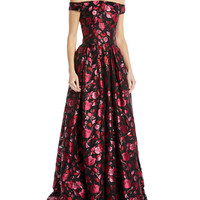 Zac Posen Off-the-Shoulder Sleeveless Floral-Jacquard Evening Gown