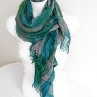 Men's scarves, Striped men's scarf, Plaid scarf men, Green Gray scarves, Organic fabric, Green turquoise scarf, Male bar pattern scarf