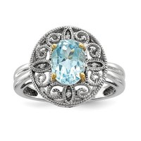 Sterling Silver And 14k Gold Sky Blue Topaz And Diamond Filigree Ring