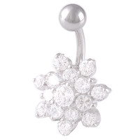 Girls Pretty Flower Non-Dangle Clear Crystal Belly Button Ring [Gauge: 14G - 1.6mm / Length: 10mm] 316L Surgical Steel & Cubic Zirconia