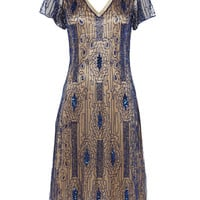 UK10 US6 Navy Blue Gold Vintage inspired 1920s Vibe Flapper Gatsby Downton Abbey Charleston Sequin Deco Mod Wedding Party Dress New HandMade