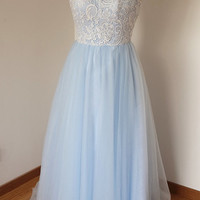 2015 Scoop Sweetheart Ivory Lace Light Sky Blue Tulle Long Prom Dress with Back Buttons