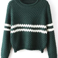 Green Long Sleeve Striped Cropped Knit Sweater