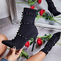 Autumn and winter fashion Fine heel High heel Women's boots Jelly rivet black