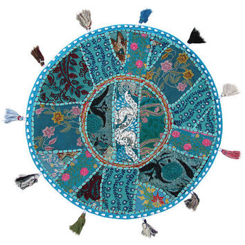 """Blue 22"""" Patchwork Round Floor Pillow Cushion round embroidered Bohemian Patchwork floor cushion pouf Vintage Indian Foot Stool Bean Bag"""