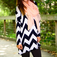 You're The One Tunic, Navy/White