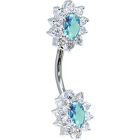 Sterling Silver 925 Aqua Cubic Zirconia Unforgettable Belly Ring | Body Candy Body Jewelry