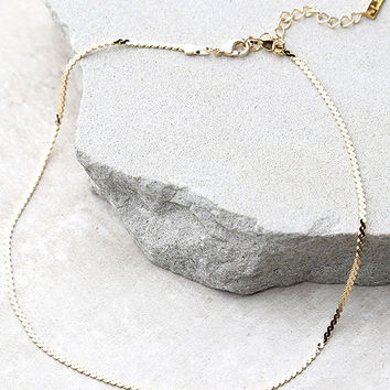 Go Ahead Now Gold Chain Choker Necklace