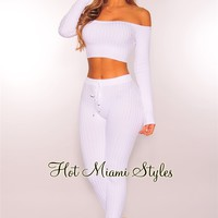 White Ribbed Knit Off Shoulder Two Piece Set