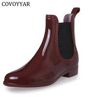 Rain Boots 2017 Waterproof Fashion Jelly Women Ankle Rubber Boot Elastic Band Solid Color Rainday Women Shoes