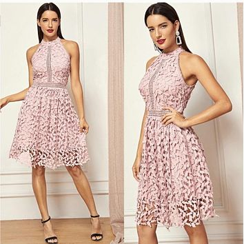 Going Out  Party Halter Neck Lace Sleeveless Dress