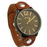 Vintage Brown Real Leather Strap Watch Top Layer Leather Wristwatch for Women Men