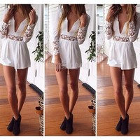 #gib Sexy V Neck Floral Lace Stretch Bodycon Club Party Slim Jumpsuit Romper