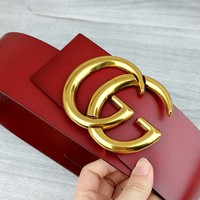 GUCCI Tide brand women's classic double G letter buckle belt red