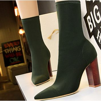 Hot style sells simple wood grain with thick pointy spring sexy ankle boots  shoes