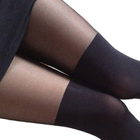 Womens Girl Glamour Black Gipsy Mock Ribbed Over the Knee Tights High Pantyhose Leggings {Free Shipping}