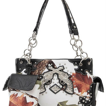 * Western Cowgirl Fall Leaves And Gun Accented Two Side Pocket Satchel Bag In Black