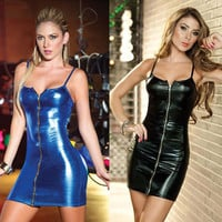 High Quality women nightclub dress sexy imitation leather metal zipper cool tight black blue suspenders club dress clothes SU085