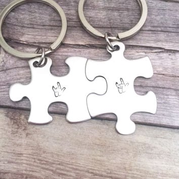 Puzzle Piece Keychain, I love you Sign Language, Finger Spelling, Couples Keychains , Anniversary Gift
