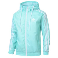 Adidas Fashion New Bust Side Letter Leaf Print And Back Stripe Print Men Leisure Long Sleeve Top Coat Windbreaker Mint Green