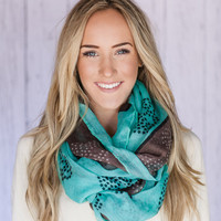 Skull Infinity Scarf Wide Cotton Viscose Printed Skull and Stars Circle Scarf in Black Mocha and Teal