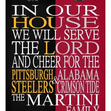 A House Divided - Pittsburgh Steelers & Alabama Crimson Tide personalized family poster Christian gift sports art -multiple sizes