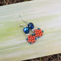 Beadwoven earrings, beadwork jewelry, beaded tiny dressy earrings - blue coral, bright summer, sea treasures