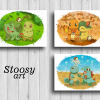pokemon starters print set of 3 pokemon wall art pokemon nursery decor