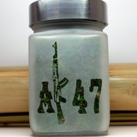 AK-47 Etched Glass Air Tight Stash and Herb Storage Jar - 420 Gifts - Novelty Gifts - Smoking Accessories