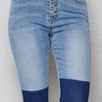 PacSun Remove Blue Exposed Button Super High Rise Skinny Jeans at PacSun.com