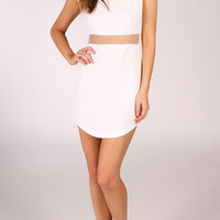 Clothing :: Dresses :: Short Sleeve Dress with Mesh Waist - Ice - Fashion for the Future