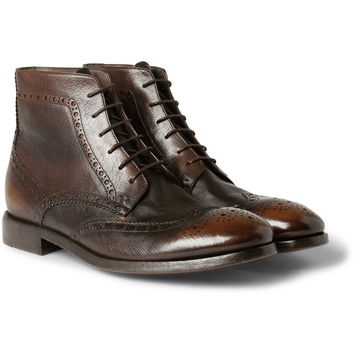 Paul Smith Shoes & AccessoriesWashed-Leather Brogue Boots|MR PORTER