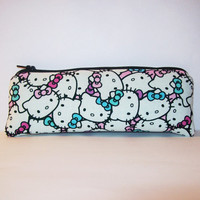 """Hello Kitty Faces in Pastel Cotton Padded Pipe Pouch 7.5"""" / Glass Pipe Case / Spoon Cozy / Piece Protector / Pipe Bag / LARGE"""