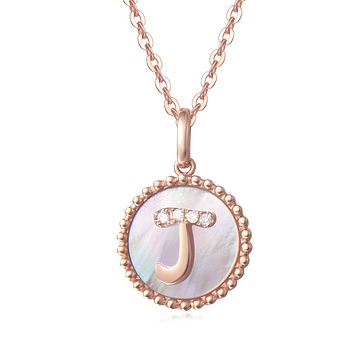 """""""J"""" Solid 14K Rose Gold Initial Dainty Pendant Necklace"""